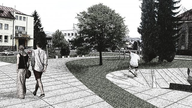 Omladina - Parkovisko pri pošte a park pred školou